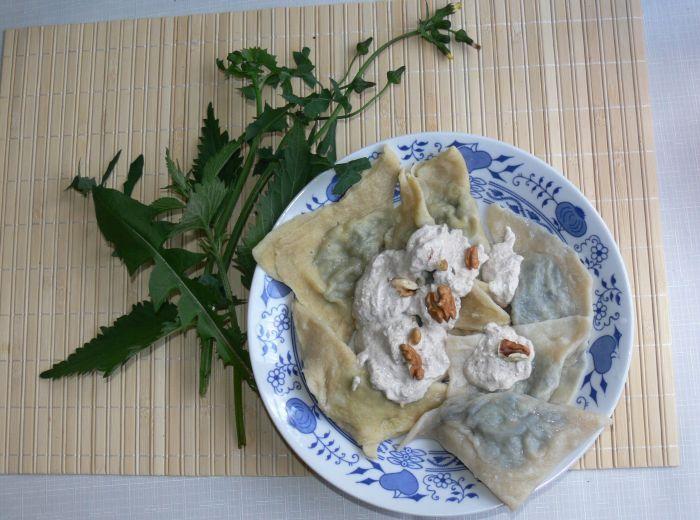 pansotti con salsa di noci - hotové jídlo - italská specialita z Ligurie ze směsi planých rostlin preboggion (prebuggiun)  © Ivana Paukertová 2014