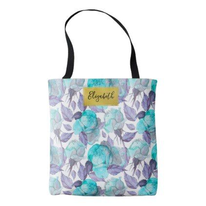 Chic Blue Peony Flower Personalized Tote Bag - chic design idea diy elegant beautiful stylish modern exclusive trendy