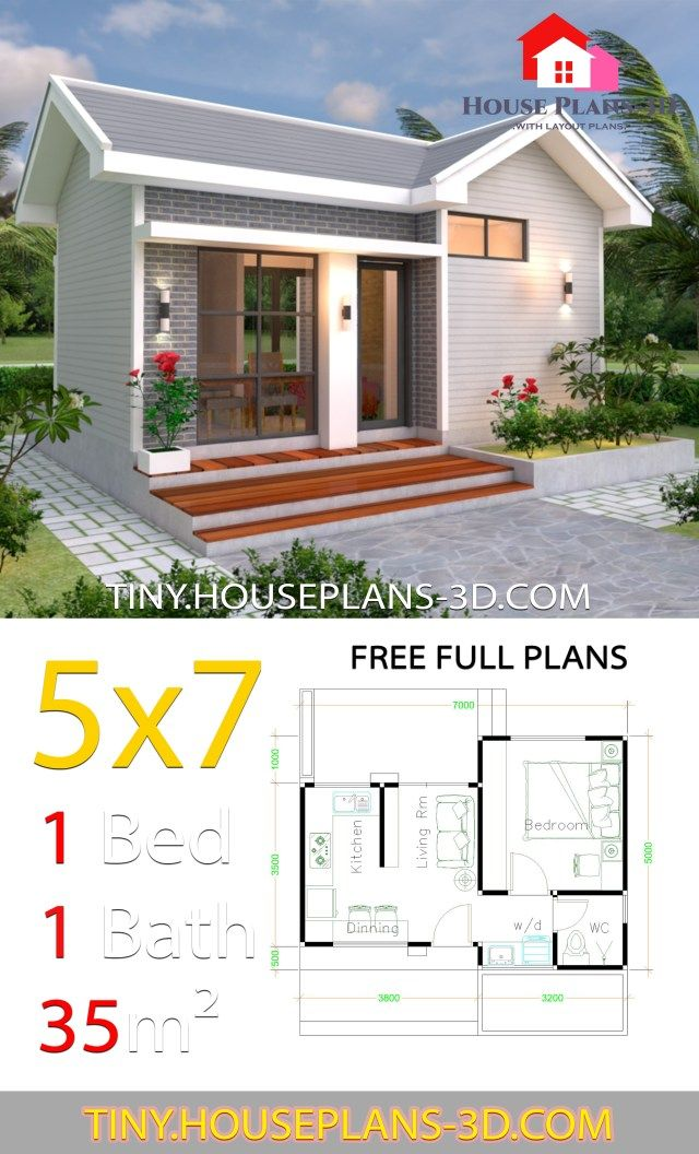 Small House Design Plans 5x7 With One Bedroom Gable Roof Tiny House Plans Desain Rumah Mungil Denah Lantai Rumah The Plan