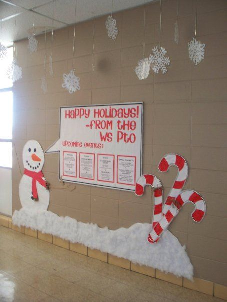 Winter Bulletin Board-I like the snowflakes on the ceiling