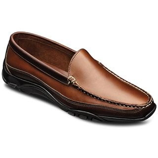 Allen Edmonds - Boulder Venetian Loafer Tan/Brown $175. Ad style to your wardrobe with the incredibly comfortable Boulder Venetian loafer from Allen Edmonds. This casual men's slip-on loafer is a joy to slide your foot in and out of. Enjoy traction with the unlined mudguards and the array of curved grooves on the sole. This driving shoe is crafted with handsome design features like the two-tone leather upper and contrast stitching.