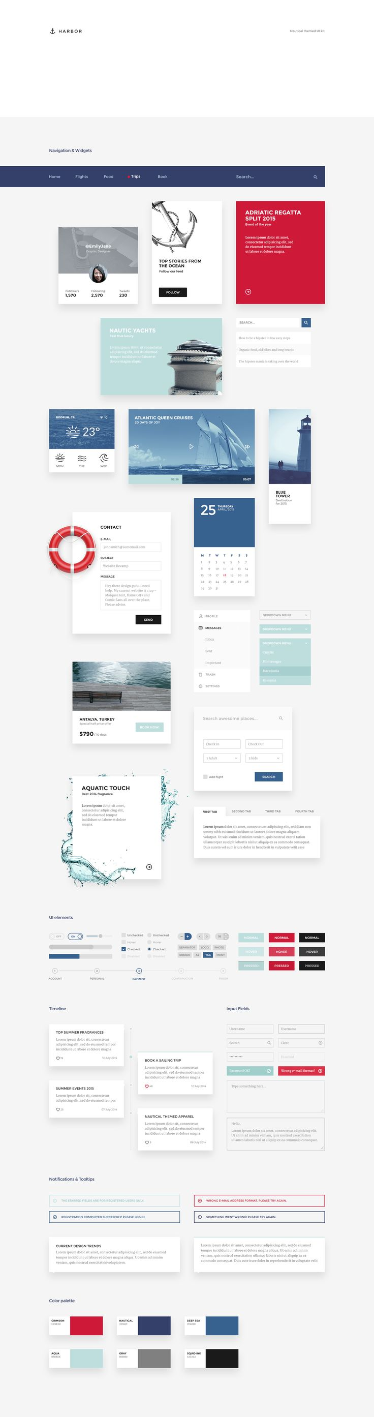 Dribbble - harbor-ui-kit-all-elements-preview.png by Erigon                                                                                                                                                     More