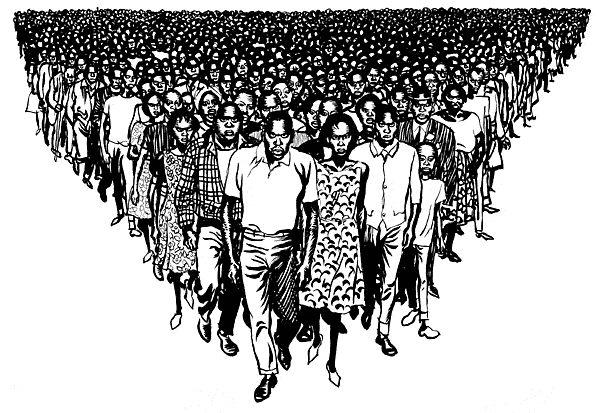 Este dibujo simboliza el triunfo de la Unión Democrática Africana de Kenia en las elecciones legislativas de 1963. Kenia todavía era colonia británica, y la victoria de este partido, cuya cabeza visible era Jomo Kenyatta aceleró la descolonización, pese a que las autoridades británicas deseaban un gobierno más moderado. Fue uno de los primeros territorios en descolonizarse. Illingworth, 11-6-1963