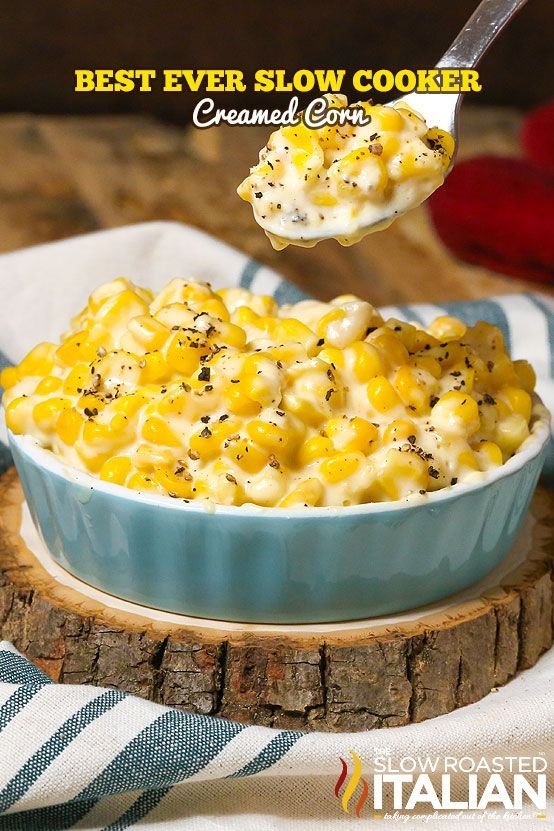 Best Ever Slow Cooker Creamed Corn recipe doesn't get much easier. Simply toss 6 ingredients into the slow cooker or crockpot and a few hours later you have the silkiest, creamiest most divine creamed corn you have ever eaten. You might want to print this recipe out, because everyone is going to ask for it! From @SlowRoasted