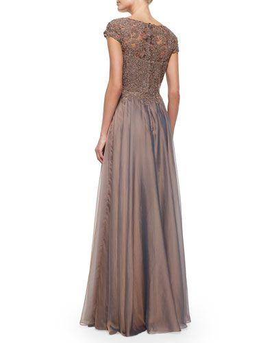 TAAN7 La Femme Cap-Sleeve Lace-Bodice Flowy Gown