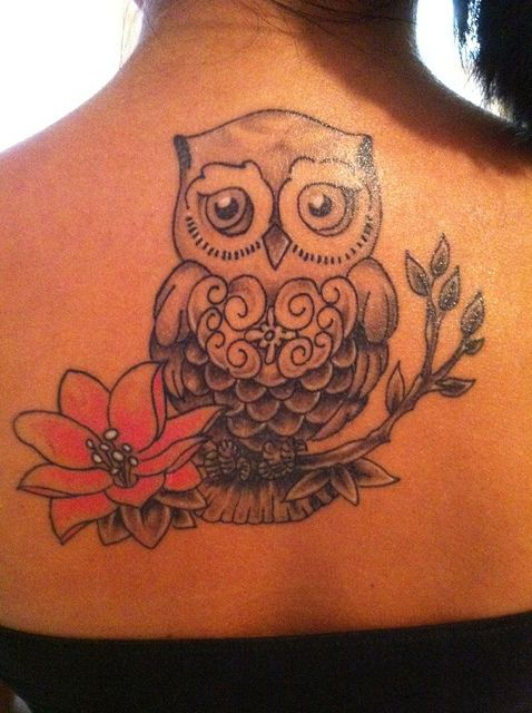 Little owl outline tattoo - photo#46