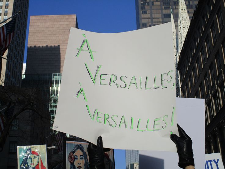 "Sign at the Women's March in NY alludes to the Women's March on Versailles, one the most important events of the French Revolution which ended the King's independence ""and signified the changes of power and reforms about to overtake France"". (More: en.wikipedia.org/...)"