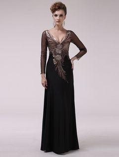 Vestido de noche de satén elástico de color negro con manga larga   Milanoo