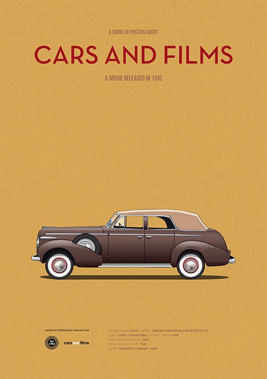 Poster of the car from Casablanca. Illustration Jesús Prudencio. Cars And Films