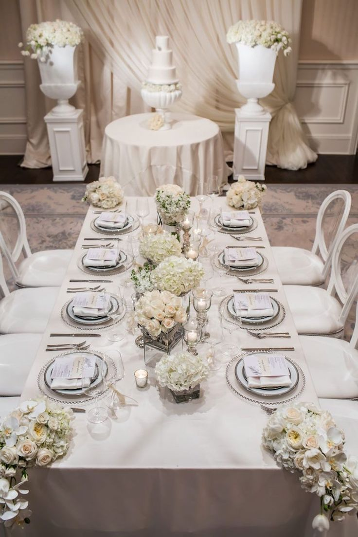 décoration table mariage hiver compositions roses blanches hortensias orchidées