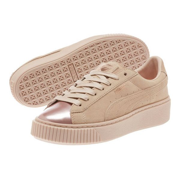 Suede Platform Rose Gold Women's Sneakers ($90) ❤ liked on Polyvore featuring shoes, sneakers, platform trainers, platform sneakers, suede platform sneakers, suede leather shoes and suede shoes