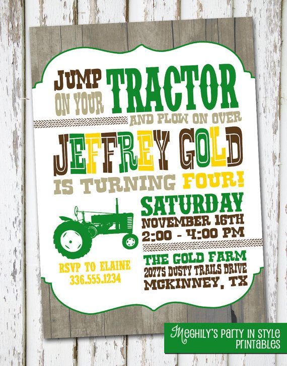 Tractor Birthday Invite by Meghilys on Etsy, $10.00