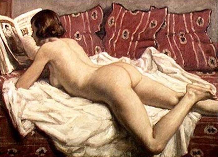 Nude on a Pink Divan (c.1925). René François Xavier Prinet (French, 1861-1946). Prinet taught many pupils, first at his open studio in Montparnasse, and then at the École Nationale des Beaux-Arts. He was a member in the 1890s of the movement known as La Bande Noire led by Charles Cottet, influenced by the realism and dark colors of Courbe