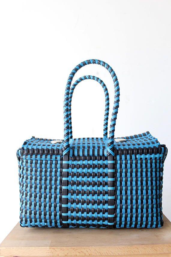 Bolsa Mexicana de plástico tejida a mano
