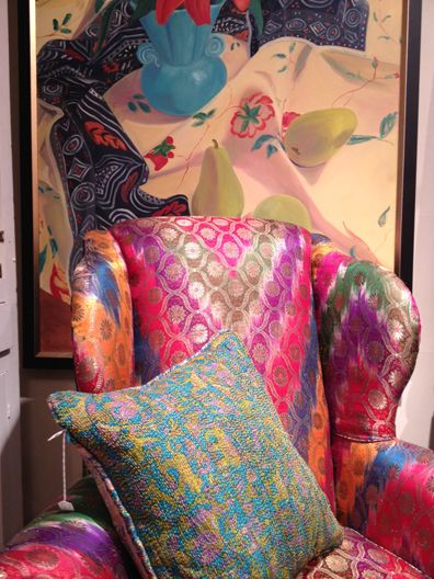 Coulourful wing chair