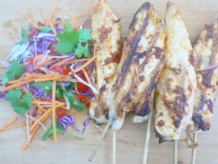 chipotle chicken skewers with mexican street slaw