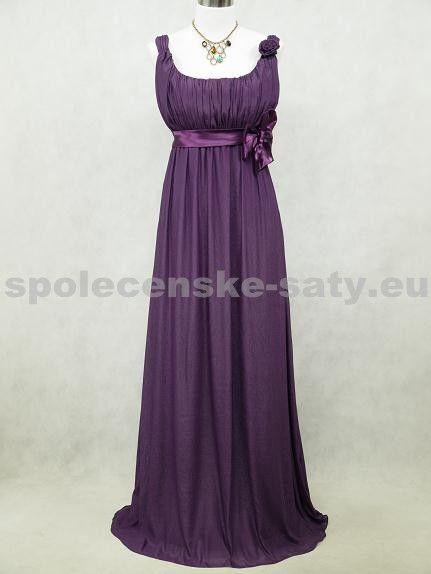 Fialové antické šaty nevypasovaný volný střih na svatbu ples i pro těhulky nadměrná velikost 50-52