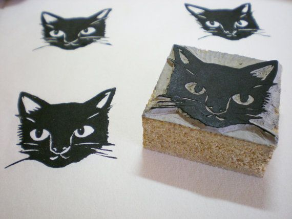 Ayu Tomikawa hand-carved black cat stamp - lots of pets available. $13