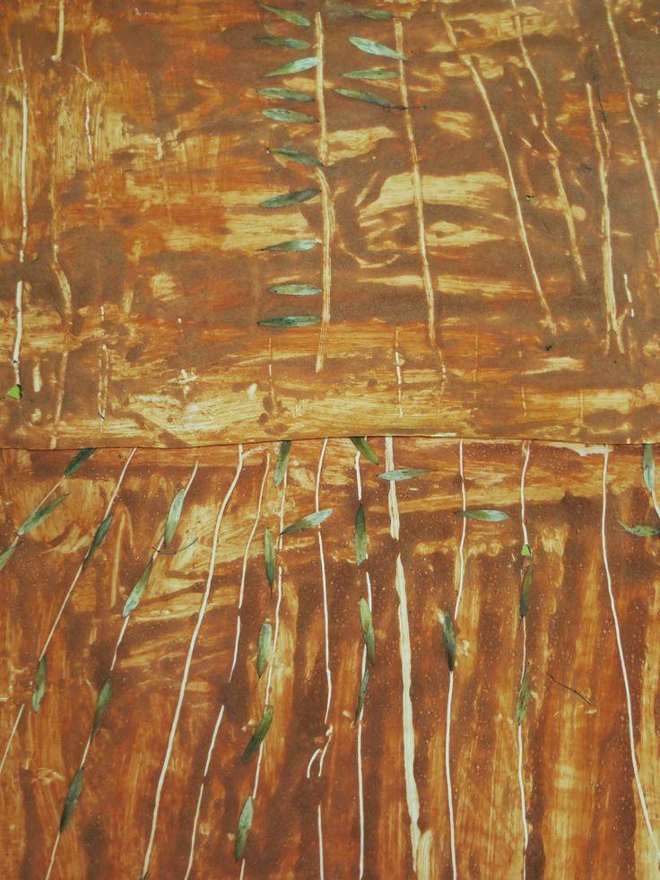 Schilderen met zand en bruine verf, lijntjes intrekken en zaadjes tekenen