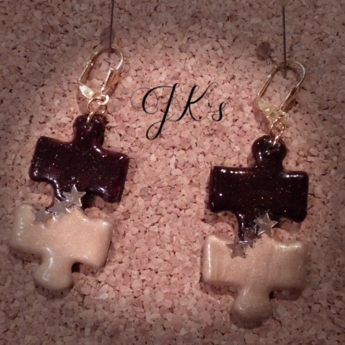 Handmade puzzle earrings