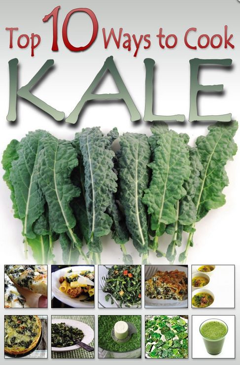 """10 ways to cook """"the queen of greens"""" - Kale. Kale is low calories, high fibre, 0 fat. High in calcium, iron and vitamins A, C and K.  Filled with powerful antioxidants.  #health #food #recipes"""