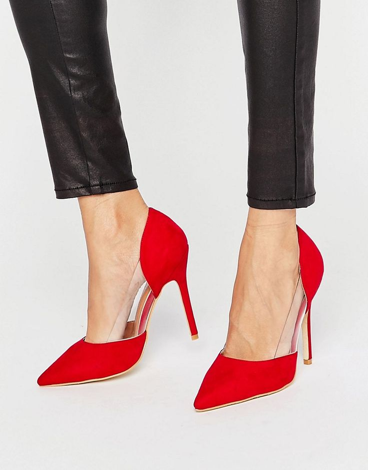 Image 1 ofPublic Desire Keely Clear Detail Red Court Shoes