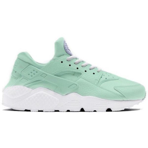 Mint Nike Huarache Sneakers (52.405 HUF) ❤ liked on Polyvore featuring shoes, sneakers, nike, nike trainers, genuine leather shoes, mint green shoes and nike shoes