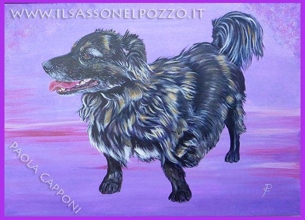 Ritratto dipinto con colori acrilici su tela 50x70x4 cm. Paola Capponi