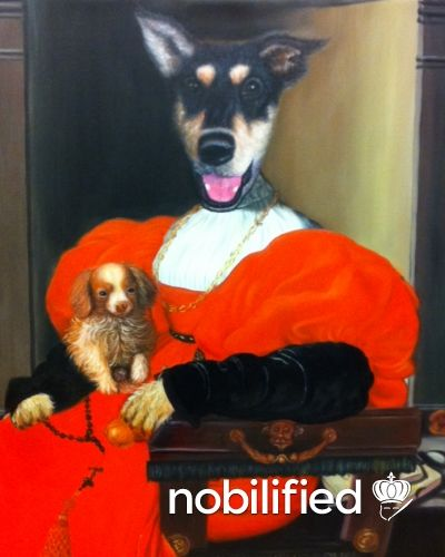 Nobilified   Pet Portrait   Lady in Red with a Puppy