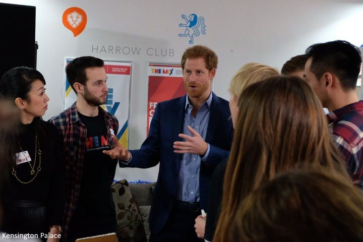 hrhduchesskate:  The Mix Volunteer Christmas Party, December 19, 2016-Prince Harry speaks with young people at the party