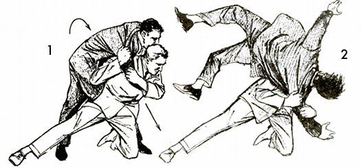 shoulderdropThis throw starts the same way as the shoulder throw. You first grab your opponent's right sleeve at elbow and shoulder. All you have to do now is drop onto your left knee, stretching your right leg sideways as you do so (fig. 1). Pull down with your right hand and the thug is tossed over your shoulder (fig. 2). This and other throws that are shown on these pages should be practiced only on well-padded surfaces or on a soft lawn.