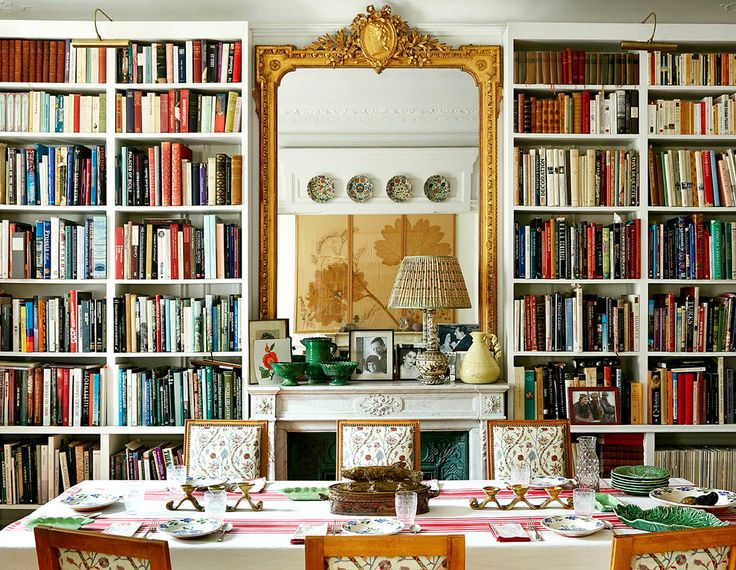 Bookshelves and dining table, cozy chic