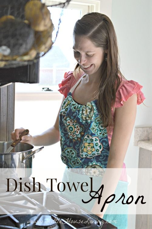 How to Make  Dish Towel Apron. Such a cute frugal project! Would make a perfect gift too.