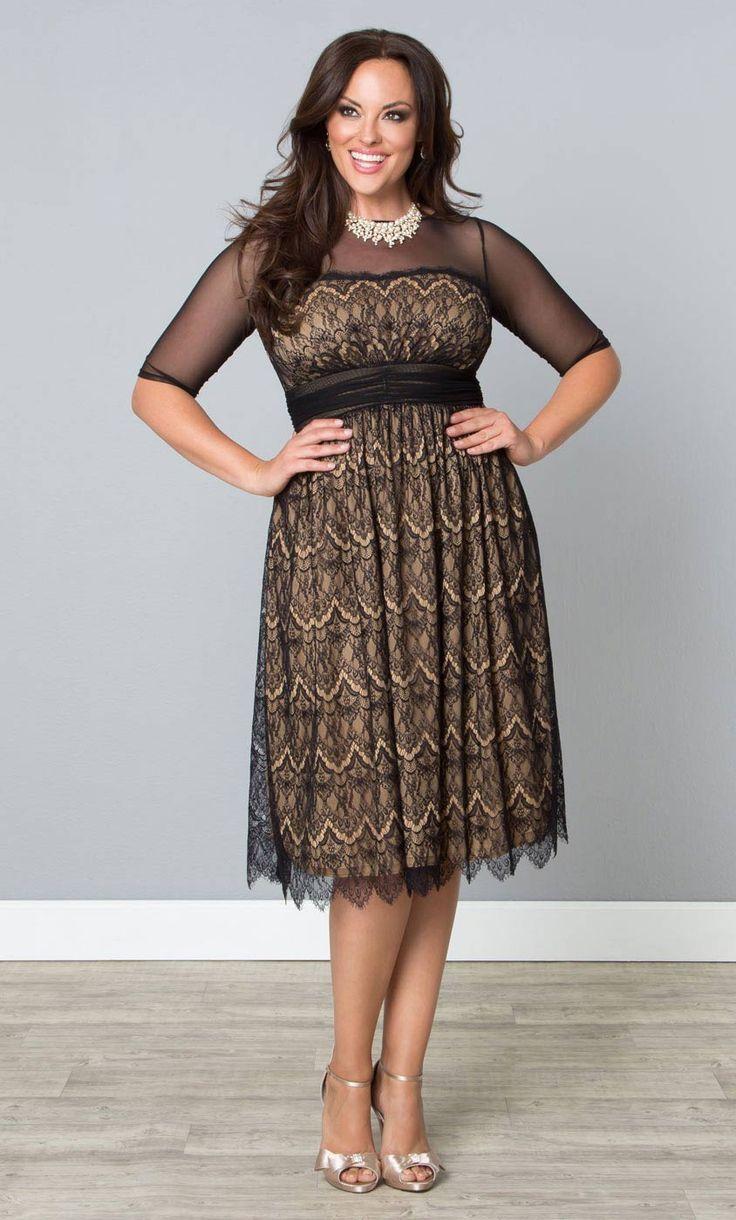Plus size cocktail dress 3 4 sleeve gym