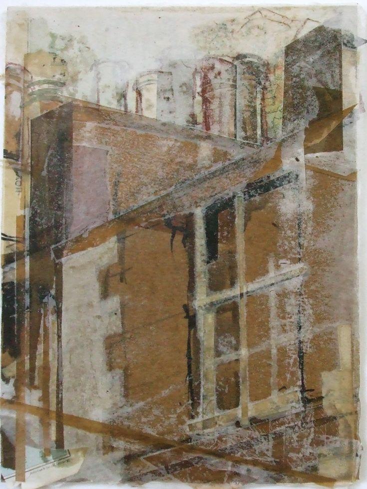 Stockbridge Chimneys, Edinburgh Collage with Wax 2014