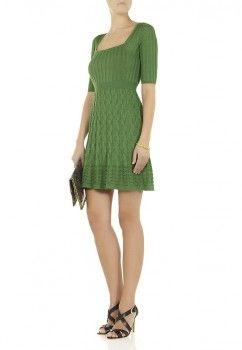 M Missoni Square Neck Wave Knit Dress