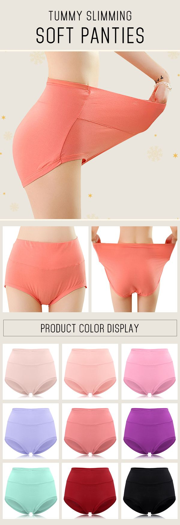 Modal High Waisted Solid Color Tummy Slimming Soft Panties #fashion #style #panties
