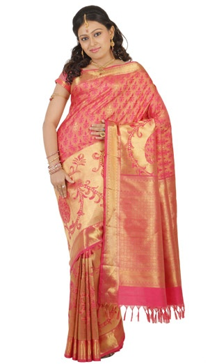 $558.42    Colour : Pink with Self fancy Border  Material : Pure Silk  Weave : HandLoom  Zari : Pure    visit www.pothys.co.in