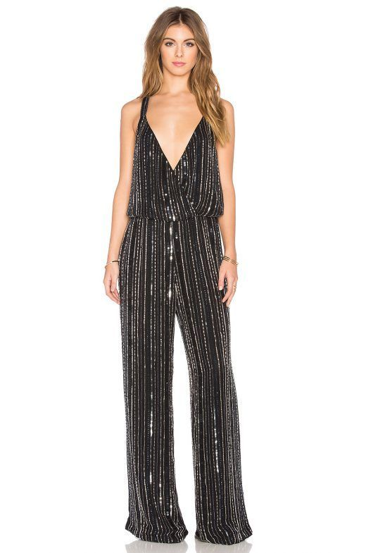 retro inspired metallic jumpsuit for wedding guests
