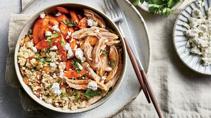 Couscous Pilaf with Roasted Carrots, Chicken, and Feta | One bowl, zero hassle. One bowl meals seem to be on every menu now, and we understand why. Filled with grains or noodles, veggies, and protein, one bowl meals are healthy and filling, which is a winning weeknight combo. If you're looking for a rice bowl recipe, we've got plenty, like Cuban Black Bean-and-Yellow Rice Bowls and low-carb Skirt Steak and Cauliflower Rice bowls. Going meatless? Try veggie bowl recipes like Couscous Pilaf…