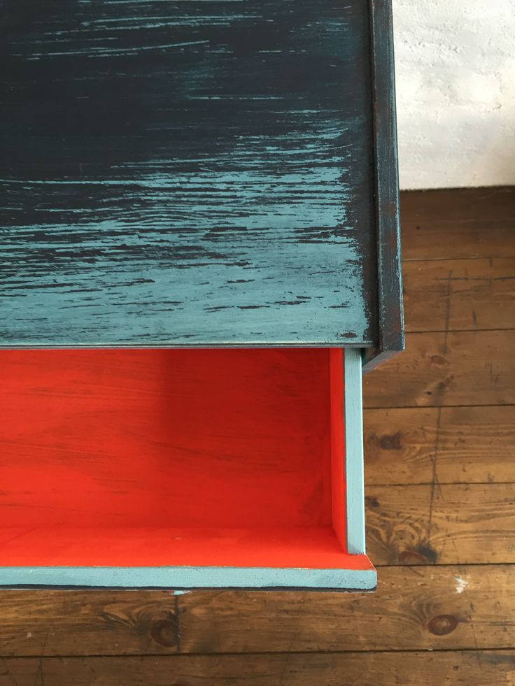 Painted wooden ikea drawer with Daria Geiler painted materials
