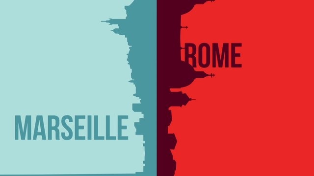 Marseille vs Rome (WIP) by Romain Gauthier. Inspired by Vahram #Muratyan 's book #Paris vs #NewYork and by #TonyMiotto 's Paris vs New York #video.  #motion-design #motion #vector #animation #graphicdesign #minimalist