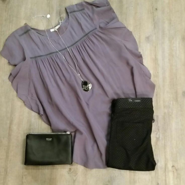 Liverpool pull on legging with a fun and flowy purple top. The Matt and Nat clutch and long necklace complete the outfit.