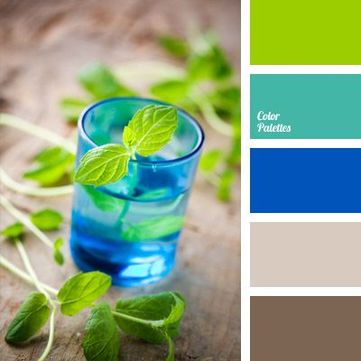 Bright shades of blue and green are complemented with cold tints of brown and faded green blue. This color solution will be suitable for holiday decoration of premises, as well as playrooms, workshop studies or spacious kitchens of country houses. This scheme will look natural in sports and everyday clothing of men and women.