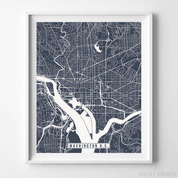 Washington Dc Map Print Street Poster Road District Of Etsy Map Wall Art Washington Dc Map Art