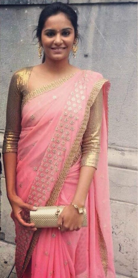 Love the gold and pink saree or sari with long sleeved blouse
