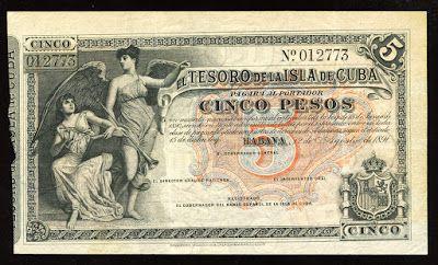 Cuban banknotes 5 Pesos Treasury Note of 1891, El Tesoro de la Isla de Cuba.