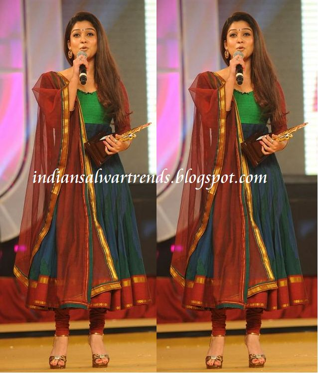 Latest Salwar and Designer Dresses: Nayanthara in multi colour cotton anarkali suit