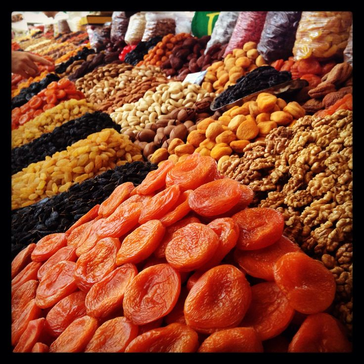 Amazing dried fruits and nuts at Green Bazaar in Almaty, Kazakhstan