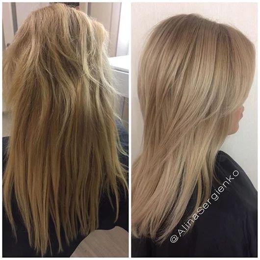Для Татьяны,которая приехала из Голландии🌷: снятие нарощенных волос, #окрашивание + #olaplex, #стрижка👸🏼Я очень волновалась, но получилось все отлично? и нам удалось придать волосам ухоженный и здоровый вид💁🏼